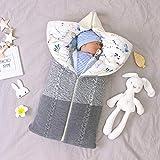 Taotigzu Gigoteuse Bébé Hiver 0-12 Mois Turbulette Bebe Coton Tricoté Unisexe Fille Garçon Zip Sac de Couchage pour Bambin (Gris blanc)