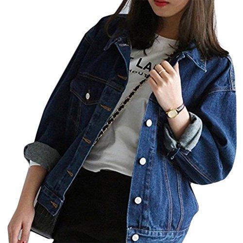 Mode Beiläufig Damen Mantel Jacke Denim Jacket Trench Parka Jacken Einfarbig Lange Ärmel Jeans-Jacke mit Patches (S, Blau1)