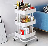Carrito de almacenamiento, carro organizador de 3 niveles, carro organizador multiusos con ruedas, carrito de metal con ruedas para baño, cocina, almacenamiento de dormitorio (blanco)