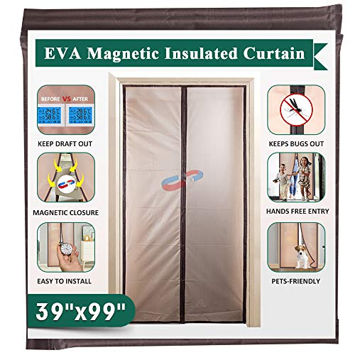 Magnetic Insulated Door Curtain 39' x 99', IKSTAR EVA Thermal Door Cover, Full Frame Hook&Loop, Pets Kids Walk Through Freely, Enjoy Cool Summer & Warm Winter for A/C Bed Room, Kitchen, Stair - Brown