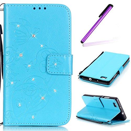 Preisvergleich Produktbild HMTECH Huawei P8 Lite 2015 Hülle Glitzer Schmetterling Blumen Floral Flip Standfunktion Karten Slot Magnetverschluß Brieftasche Taschen Ledercasefür Huawei P8 Lite, Diamond Butterfly:Blue