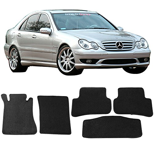 Free-Motor802 Compatible With 2001-2007 Mercedes Benz W203 C Class Floor Mats Black Nylon Car Floor Carpets 5-pc Set