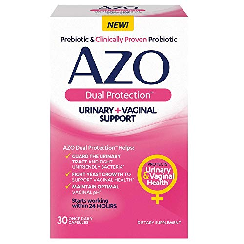 AZO Dual Protection   Urinary + Vaginal Support*   Prebiotic Plus Clinically Proven Women's Probiotic   Starts Working Within 24 Hours   30 Count, Multi