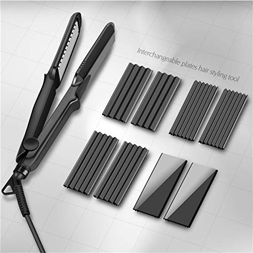 Rizador Professional4-in-1Hair Straightener Crimper Ceramic Hair Curler Styler Interchangeable Plate Corrugated Hair Flat Iron38