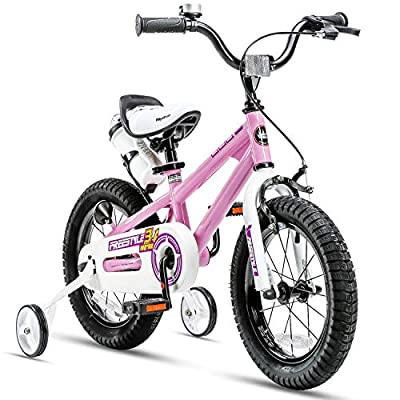 RoyalBaby Kids Bike Boys Girls Freestyle BMX Bicycle with Training Wheels Gifts for Children Bikes 12 Inch Pink