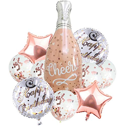 DIWULI, 10 Stück Geburtstags Luftballons, Happy Birthday, Sekt-Flasche + Stern-Ballons + Folien-Ballons + Latex-Ballons Konfetti, Geburtstagsballon, Geburtstag, Party, Dekoration, Geschenk-Deko