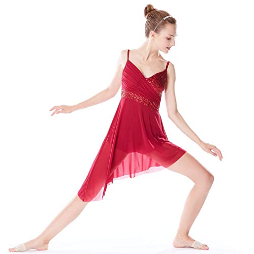 39414b514d8d8 MiDee Latin Dance Costume V-Neck Sequined High-Low Lyrical Dress for Girls