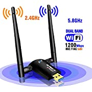 New USB WiFi Adapter-1200Mbps USB 3.0 Wireless Network WiFi Dongle with Dual Antenna for PC/Desktop/Laptop/Mac,Dual Band 2.4G/5G 802.11 ac,Support Windows 10/8/8.1/7/Vista/XP/2000, Mac OS 10.6-10.14