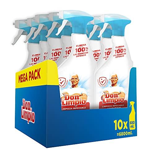 Don Limpio Limpieza Impecable, Detergente en Spray, Elimina Hasta el 100% de las Manchas Difíciles, Aroma Eucalipto, 10 x 680 Ml , 6.8 L