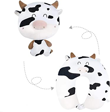 Neck Guard Travel Pillow- Cute Cartoon Cow Travel Deformation Pillow-100% Memory Foam Travel Neck Pillow for Airplanes and Tr
