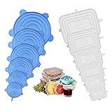 FATE TO FATE Dehnbare Silikondeckel, 12 Teiliges Silikon Stretch Deckel, BPA Free Wiederverwendbar Silikon Abdeckung, Universal Silikon-Frischhalte-Deckel für SchüSseln, TöPfe, GläSer, Dosen, Becher