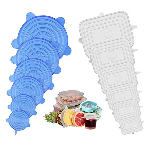 Jumkeet Couvercle Silicone Alimentaire, 12pcs Réutilisable Couvercles Silicone Extensible Carré et Rond pour Conservation des Fruits, Tasses, Verre, Bol, Petite, Micro-Ondes, Four, Frigo (blanc, bleu)