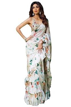 Indian Saree Sari Frill Ruffle Border Bollywood Georgette Print