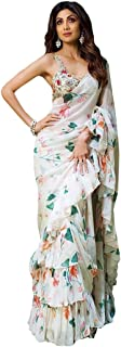 sagarcreation Women's Georgette Ruffle Printed Saree with Blouse (SC-09, White)