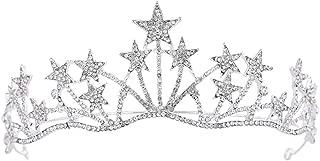 Frcolor Crystal Rhinestone Tiara Crown,Star Bridal Wedding Princess Pageant Queen Crown Headband