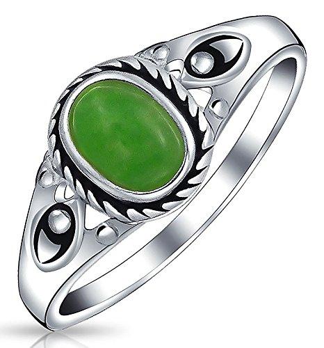 Moda Boho Oval Estilo Bali Teñido De Verde Jade Banda