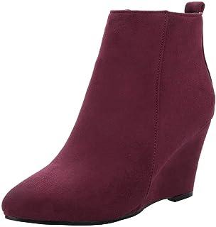 36debade0f8146 Kittcatt Femme Botte Bout Pointu Talon Compense Bottines Fermeture Eclair  Hiver Ankle Boots Winter Chaussure