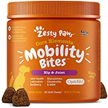 Zesty Paws Glucosamine for Dogs - Hip & Joint Health Soft Chews with Chondroitin & MSM - Functional Dog Supplement for Pet Mobility Support with Kelp + Vitamins C and E for Hips & Joints