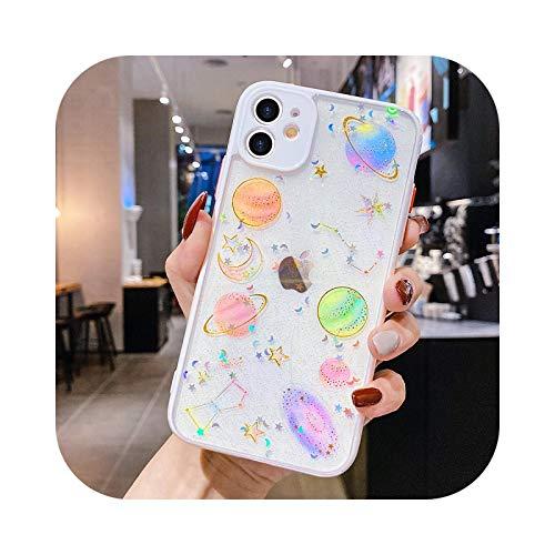 Funda transparente con purpurina para iPhone 11 12 Pro Max X XR XS 7 8 Plus SE 2020 Universo impreso cubierta suave para 12 mini parachoques blanco para iPhone XS MAX