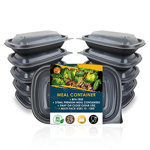Multi Pack 10-20-50-100 375ml 13 oz 1 Compartment BPA Free Reusable Meal Prep Plastic Containers Food Storage Trays with Airtight Lids - Microwavable, Freezer and Dishwasher Safe Stackable Lunch Box