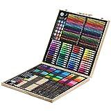 Yuqianqian Lápices de Dibujo de Arte Multicolor Lápices de Colores Papelería para niños 258 Piezas Caja de Madera Herramientas de Pintura Juego Acuarela Pluma Paquete para Colorear y Artistas Adultos