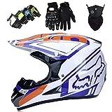 Casco Motocross Niño, Cascos de Motocross con Diseño FOX Casco de Cross de Moto Set con Gafas/Máscara/Guantes, Casco de Descenso BMX MX ATV MTB de Integral, Blanco