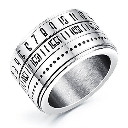 14mm de ancho acero inoxidable giratorio de cúpula de números arábigos anillo de dedo para los hombres alta Polaco, tamaño 7–12