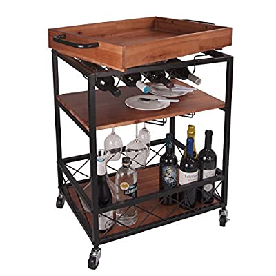 """LEVE 24""""x18"""" Solid Wood Kitchen Serving Cart Bar Buffet Cart 3 Tiers with Bottle and Goblet Holder"""