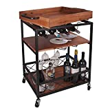 LEVE 24'x18' Solid Wood Kitchen Serving Cart 3 Tiers Bar Buffet Cart with Bottle and Goblet Holder