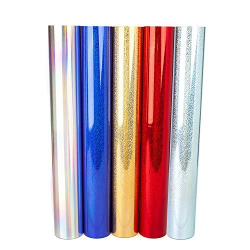 D001 Lámina para plóter efecto purpurina arcoíris holograma Oilslick DIN A4 Set plateado, dorado, rojo, azul royal, Holographic, lámina de vinilo autoadhesiva para plóter (azul brillante, 3 x DIN A4)