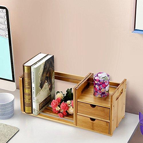 Estantería de Escritorio, Organizador de Escritorio Estantería Librería Retráctil de Bambú Almacenamiento de Escritorio con 2 Cajones para el Hogar y la Oficina, Ancho: 51-80.5 cm