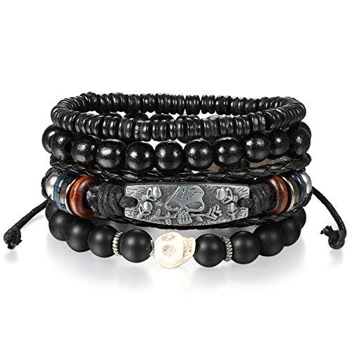 OIDEA 4 Stück Herren Armband Leder Armband Armbänder Schmuck Set schwarz Vintage Geflochten Lederarmband Kugeln Perlen Stretch Armreifen, verstellbar