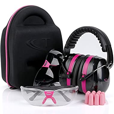 TRADESMART Pink Ear Muffs, Earplugs, Gun Safety Glasses & Protective Case - UV400 Anti Fog & Anti Scratch with Microfiber pouch   Gun Range Ear Protection & Eye Protection for Shooting