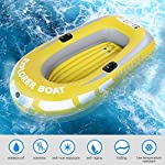 Inflatable Boat, PVC Folding Inflatable Kayak Canoe 2 Person Rowing Air Boat for Fishing Drifting Diving 10 ✔✔【HIGH QUALITY MATERIAL】This boat adopts good quality PVC material, thickness up to 0.3mm, airtight and wear-resistant.The Extra comfortable inflatable seat and the adjustable inflatable backrest provide super support and comfort for long fishing days. Easy to find the most comfortable Backrest angle for enjoying the greatest fishing pleasure. ✔✔【HIGH LOAD-BEARING & GREAT BUOYANCY】Our fishing boat has great buoyancy, allowing you to fish safely and smoothly in the lake. Heavy duty, suitable for two persons to use, load bearing is up to 90kg.The series design is based on safety and reliability. ✔✔【CONVENIENT TO CARRY】Double valve design is good for fast inflation and deflation.The two-way valves allow you to control the air entering and leaving the air bladder.Inflatable design, easy to fold for convenient storage and transportation.With two paddle mounts, can hold paddle for labor-saving paddling.