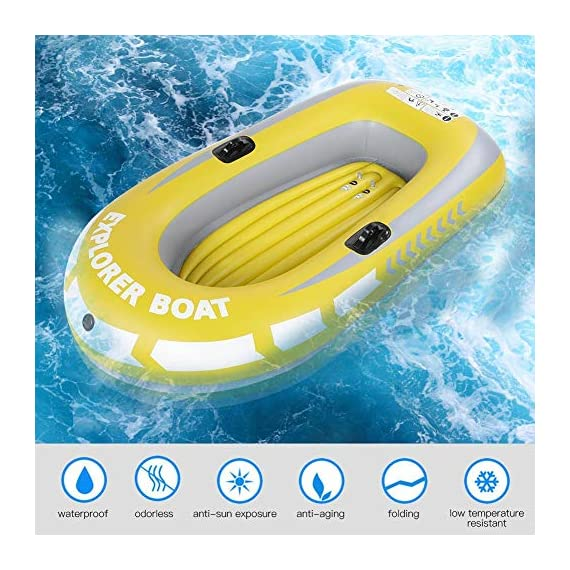 Inflatable Boat, PVC Folding Inflatable Kayak Canoe 2 Person Rowing Air Boat for Fishing Drifting Diving 3 ✔✔【HIGH QUALITY MATERIAL】This boat adopts good quality PVC material, thickness up to 0.3mm, airtight and wear-resistant.The Extra comfortable inflatable seat and the adjustable inflatable backrest provide super support and comfort for long fishing days. Easy to find the most comfortable Backrest angle for enjoying the greatest fishing pleasure. ✔✔【HIGH LOAD-BEARING & GREAT BUOYANCY】Our fishing boat has great buoyancy, allowing you to fish safely and smoothly in the lake. Heavy duty, suitable for two persons to use, load bearing is up to 90kg.The series design is based on safety and reliability. ✔✔【CONVENIENT TO CARRY】Double valve design is good for fast inflation and deflation.The two-way valves allow you to control the air entering and leaving the air bladder.Inflatable design, easy to fold for convenient storage and transportation.With two paddle mounts, can hold paddle for labor-saving paddling.