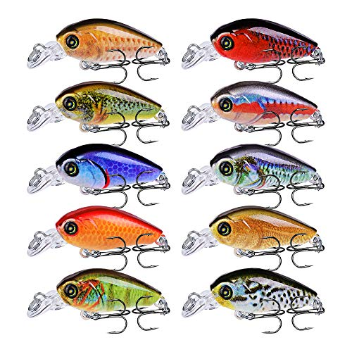 Sunlure Crankbaits Fishing Lures Kits Swimbaits Wobbler Hard Baits Mini Lure for Bass Trout Pike Freshwater Saltwater 10pc/Pack
