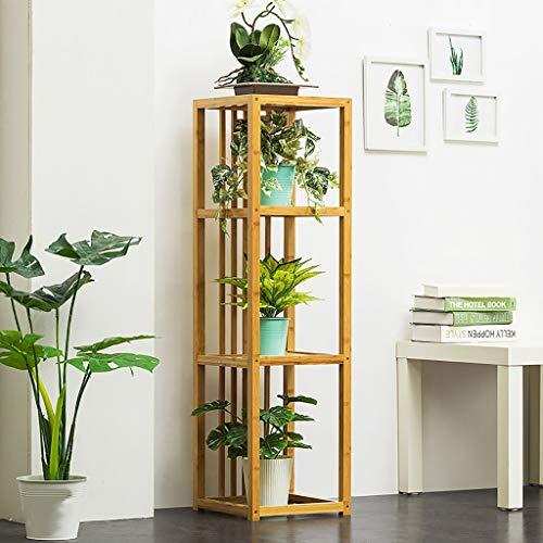 Support de fleurs Bamboo Landing Multi-layer Rack de succulentes intérieur Rack de pot de balcon Étagère de salon Deux couleurs (Couleur : A, taille : 32 * 32 * 115cm)