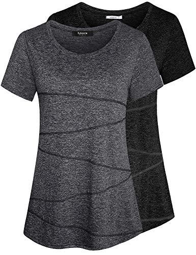 Sykooria T-Shirt de Sport Femme Fitness à Manches Courtes Top de Yoga Casual Respirant Chemise à Séchage Rapide-Noir + Gris foncéA-M