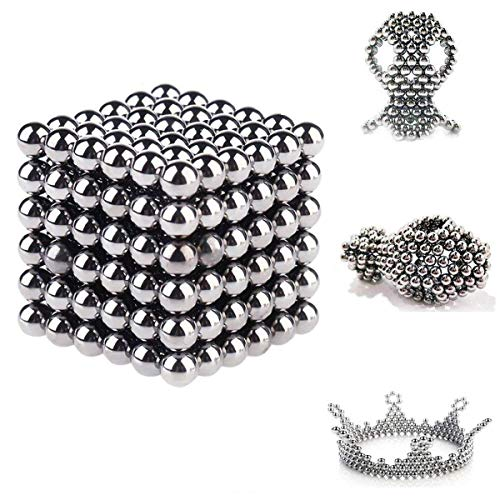 Mag-Balls - 216 bolas magnéticas de 5 mm para pizarras blancas, pizarras magnéticas, neveras, muchos modelos (Plata)
