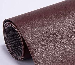 Autocollant en cuir artificiel PU, papier mural adhésif imperméable, cuir adhésif pour tapisserie (cuir marron)