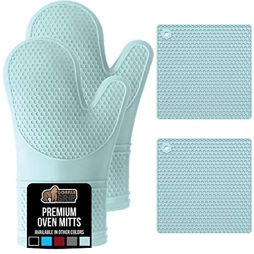 Gorilla Grip Premium Silicone Oven Mitt and Pot Holder 4 Piece Set, Includes 2 Soft Slip Resistant...