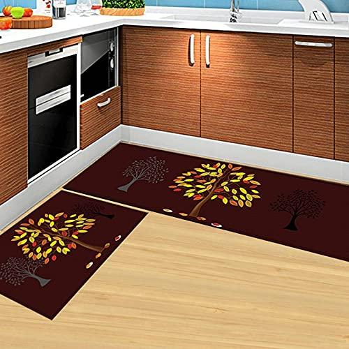 Alfombra de cocina con estampado Vintage de árbol de hoja, alfombrilla para puerta, alfombrilla para piso, alfombra para baño, sala de estar, alfombra antideslizante, decoración del hogar A1 40x60cm