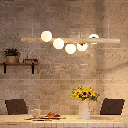 ZMH lampada a sospensione in legno rustico lampada da tavolo lampada a sospensione sfera in vetro lampada a sospensione con lampadina G9 Retro lampada da soffitto per sala da pranzo, 5-flammig