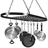 Sorbus Pot and Pan Rack for Ceiling with Hooks — Decorative Oval Mounted Storage Rack —...