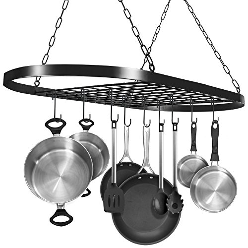 Sorbus Pot and Pan Rack for Ceiling with Hooks — Decorative Oval Mounted Storage Rack — Multi-Purpose Organizer for Home, Restaurant, Kitchen Cookware, Utensils, Books, Household (Hanging Black)