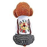 Deloito Haustierkleidung Hunde Süß Löwe Gedruckt Pullover Sweatshirt Vierbeinig Plus Samt Bluse Trägerhose Mode Welpen Katzen Kostüm (Weiß,Medium)