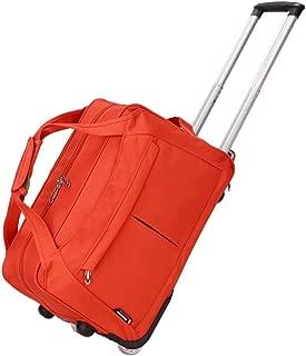 Wheeled Hand Luggage Ladies Duffle Bag Weekend Trolley Handbag (Color : Orange, Size : Small)