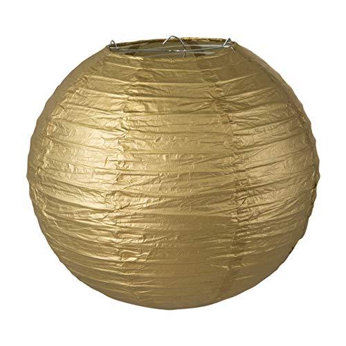 LIHAO Lampenschirm Rund Papier Laterne Golden Classic Bamboo Style Gerippter Hängeleuchtenschirm Deko für Party Garten Schlafzimmer Wohnzimmer Dekoration (10