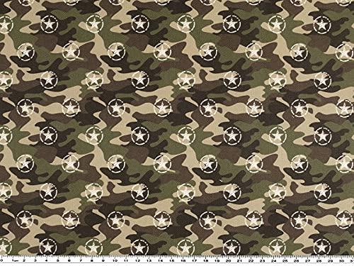 Zanderino A partire da 1 m: tessuto decorativo, a semicerchio, camouflage, stelle, larghezza 140 cm