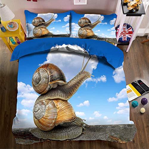 YNKNIT 3D-sängkläder 155 x 220 cm sniglar påslakan set 3D och 2 örngott enkelsäng sängkläder set för barn, pojkar, flickor sängkläder set mikrofiber